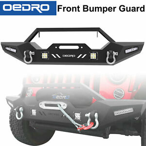 TaoAutoParts Fit for 07-18 Jeep Wrangler JK Front Bumper Combo + 4PCS LED Lights