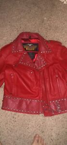 Classy Women's Red Harley Davidson Leather Jacket Size Large