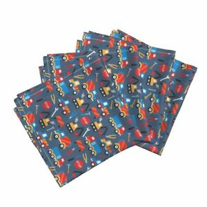 Construction Boys Tools Truck Car Cotton Dinner Napkins by Roostery Set of 4
