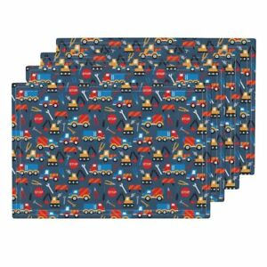 Cloth Placemats Construction Boys Tools Truck Car Crane Excavator Set of 4