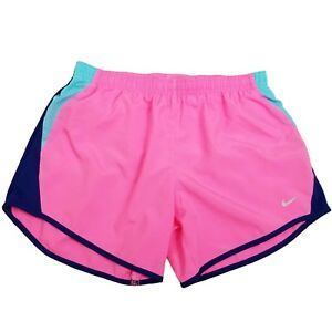 Nike Running Shorts Girls L Pink Blue Lined Fitness Athletic