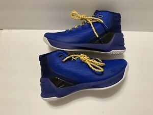 NEW Under Armour Boys Youth Steph Curry B-Ball Shoes Sz 5Y Blue Yellow $100