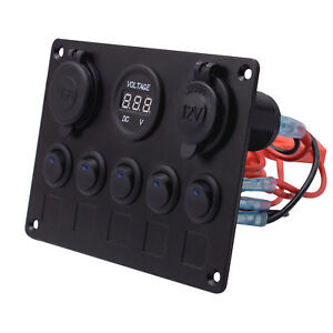 5 Gang ON-OFF Toggle Switch Control Panel Dual USB 12V RV Auto Car Truck Boat US