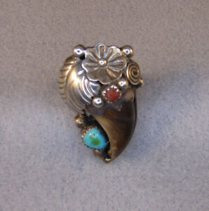 Native American Sterling Silver Faux Bear Claw Turquoise & Coral Ring