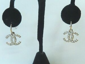 VINTAGE CHANEL HOOP EARRINGS WITH CC LOGO GOLD-TONE & CRYSTALS - NO RESERVE !