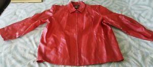 NICE Dialogue Brand Womens Leather Jacket Coat Red 3X Size Quality Clean