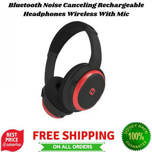 Bluetooth Noise Canceling Rechargeable Headphones Wireless With Mic Travel Pouch