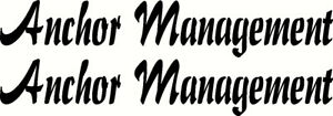 Anchor Management Fishing Boat Name Sticker Decal Set of 2 580 x 100mm each