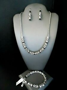 BRIGHTON DESIRE NECKLACE BRACELET & EARRINGS SET Silver & Black Beads NWT