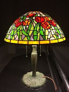 Artisan Leaded Glass Lamp With Shade Hand Crafted Art Nouveau Vintage