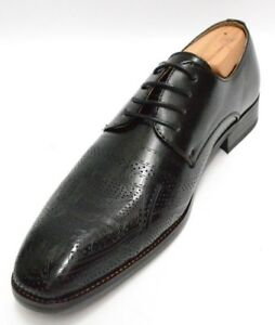 Mens Majestic Shoes Black Perforated Design Dress Casuals Oxfords 78201