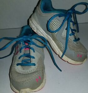 Under Armour Girls Toddlers Blue Pink Gray Shoes Size 6K Girl Toddler Baby