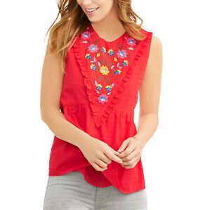 Time and Tru Women's Swiss Dot Embroidered Woven Peplum Tank Top