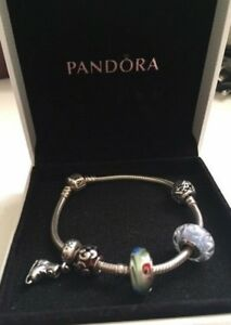 Pandora Sterling Silver Bangle Bracelet 7 Inch in Orig Box comes with 5 charms