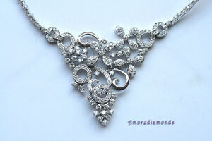 6.5 ct E VS round diamond fashion collar flower designer necklace 14 white gol