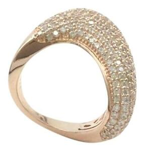 ROSE GOLD PLATED.925 STERLING SILVER CUBIC ZIRCONIA FASHION COCKTAIL RING SZ 6