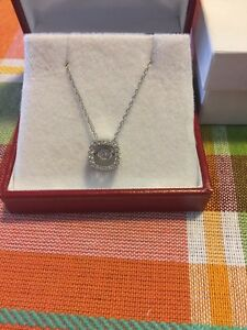 Designer Heartbeat Pendant Necklace .925 Silver 12 Ctw Cz Moving New In Box C54