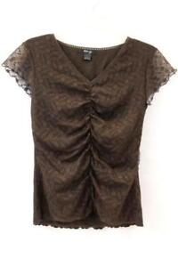 Style&co. Petite Women's Blouse Brown Floral Netting Short Sleeve Size L