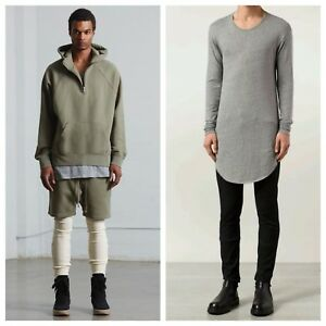 NWT Fear Of God FOG Long Line Tunic Top LS Shirt Size Large Gray