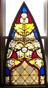 ANTIQUE 1800's ARCH LEADED STAINED GLASS CHURCH WINDOW 52