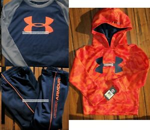 UNDER ARMOUR BOYS YOUTH SIZE 5 TRACK PANTS - SIZE 6 HOODIE ~ ORANGE BLUE $100