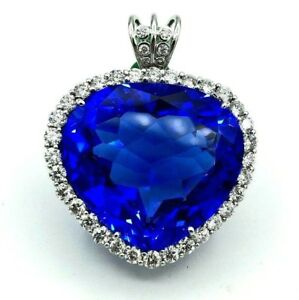 76.4 cts Lab Created Blue Sapphire 3.70 cts of Diamond Pendant 18k White Gold