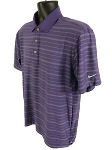 Nike Golf Polo Shirt Mens Size S Small Purple Striped Short Sleeve FIT DRY