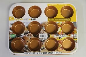 Copper 12 Cup Muffin Pan Non-Stick Coating  Dishwasher Safe  425* BRAND NEW
