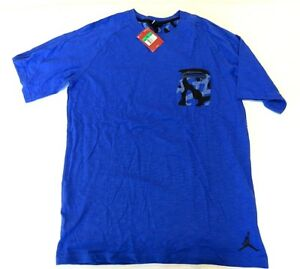 NWT Jordan Blue Jumpman Short Sleeve Camouflage Pocket T-Shirt Men's Size XLT