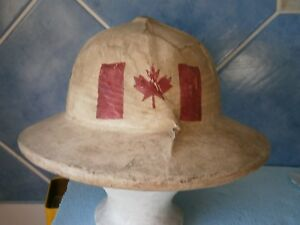 Canada Pith WWI WWII Canadian hat HELMET casque tropical casco WW2 vintage RRR