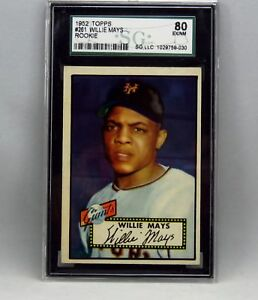 1952 Topps #261 Willie Mays Rookie Card SGC Graded EX-NM 80 #1029759-030