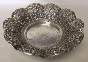 Antique 19c Orchid Pierced Footed Bowl 800 Silver Hand Hammered