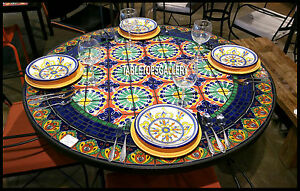 60'' Marble Top Beautiful Mosaic Dining Table Inlay Lapis Design Outdoor H3916A