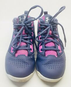 Under Armour Jet Med Basketball Shoes Size 1 Youth Girls PinkPurple Kids