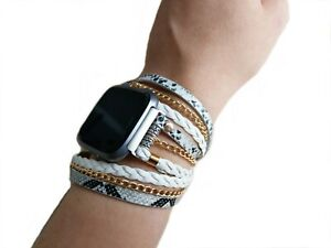 BOHO CHIC FITBIT VERSA BAND WHITE BRAIDED SNAKE LEATHER CHAIN VERSA BRACELET