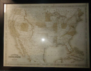 1864 Johnson's United States - Huge Framed Wall Map 47 x 36 inches. Civil war.