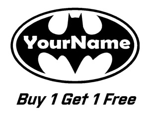 * 2 BATMAN Logo with NAME Logo Vinyl Decal for Wall Sticker CUSTOM Decals