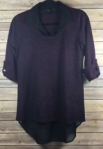 Maurice's Top Womens S Purple Roll-tab sleeve Blouse K9983