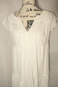 Boden 100% Cotton White Cap Sleeve Geometric Embroidery Tiered Shift Dress US 6