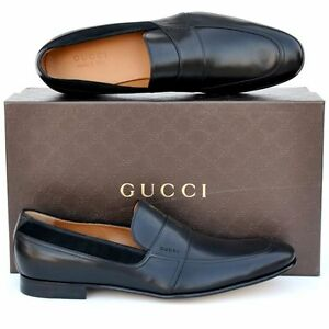 GUCCI New sz UK 11.5 - US 12.5 Mens Designer Leather Dress Loafers Shoes Black