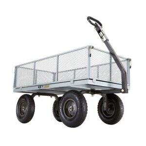 Utility Cart 1000 lb. Hauling Capacity Removable Sides 13 in. Pneumatic Tires