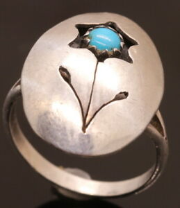HOPI Signed VB Flower Overlay Cut Out Turquoise Sterling Silver 925 Ring ~Size 4