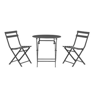 Outdoor Patio Bistro Set Powder Coated Steel Frame Weather Resistant Black 3pc