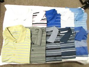 10 Nike Fit Dri Golf Polo Shirts 2XL Polyester MultiColor Stripe 3 FREE Shirts Q