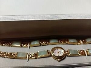 Vintage Women's Gem Time gold tone Jade Watch and bracelet set in Original Box