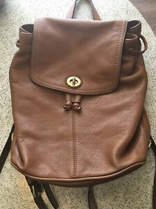 Coach Pebble Grain Brown Leather Backpack
