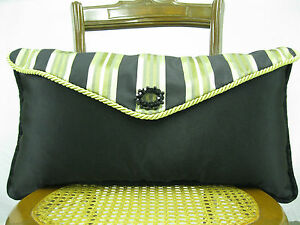Lafayette Fabric Black Envelope Pillow FeatherDown Insert Dalvir  23 In x 13 In