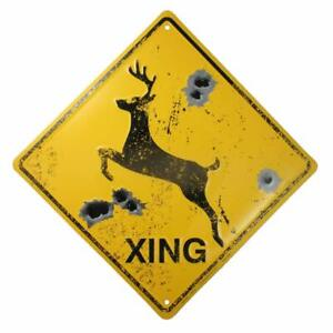 Deer Crossing SignBullet HolesRustic Hunting Cabin Lodge Street Road Decor New