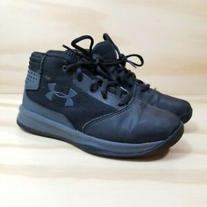 Under Armour Sneakers Shoes Youth Size 3Y Black Gray Girls Boys Basketball