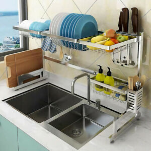 2-Tier Over Sink Dish Drying Rack Stainless Steel Kitchen Shelf Drainer Large AA